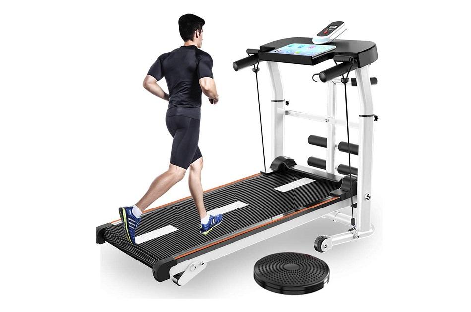 UAMSISTE 4-in-1 Foldable Manual Treadmill
