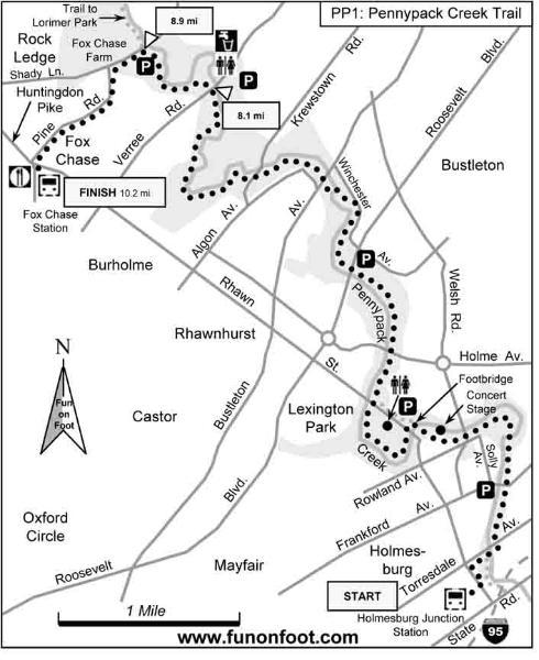 Running Trail Maps: Philadelphia Pennypack Park